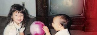 babies face on the t.v. screen